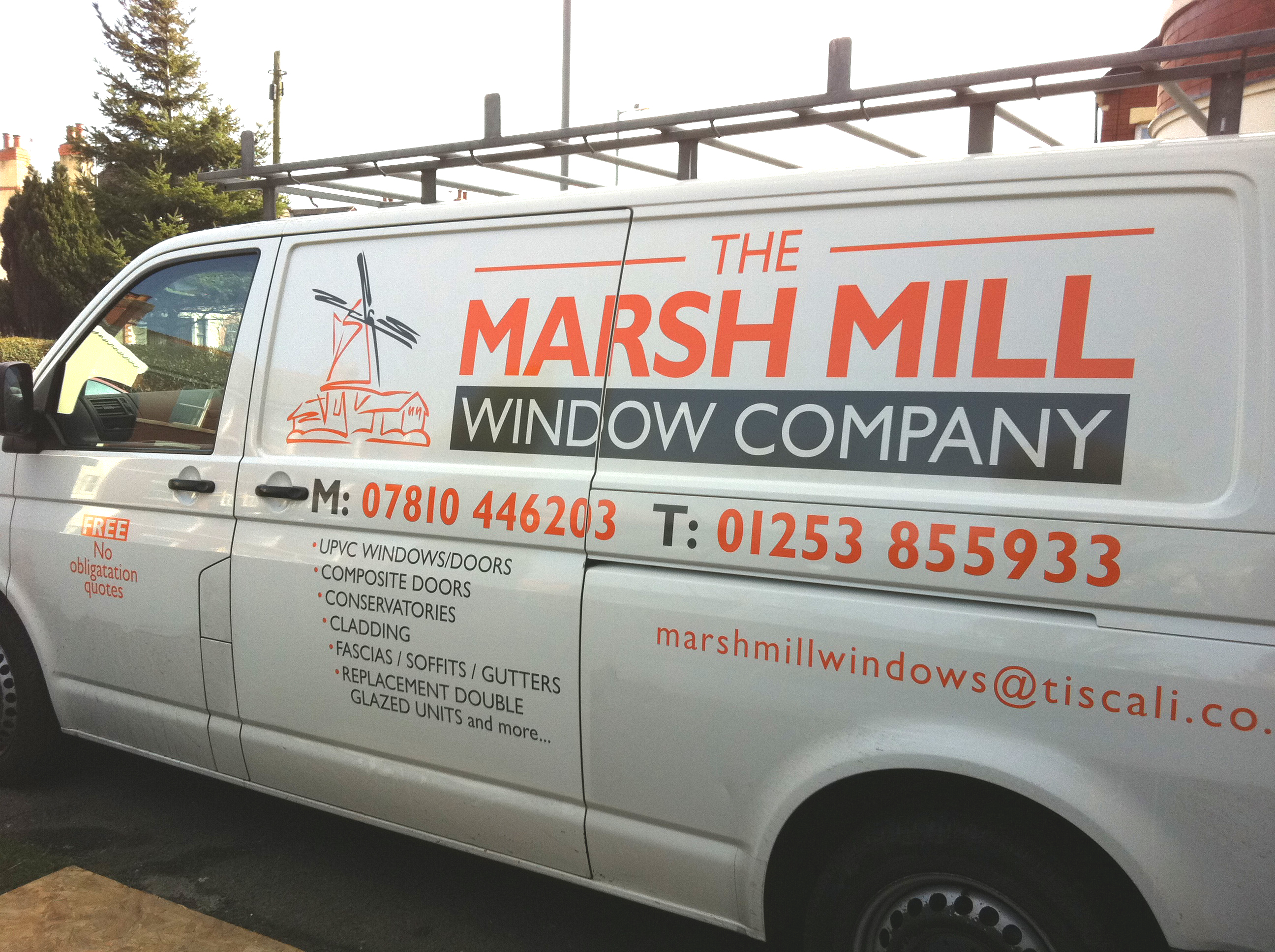 Van vinyl graphics for marsh mill window compnay