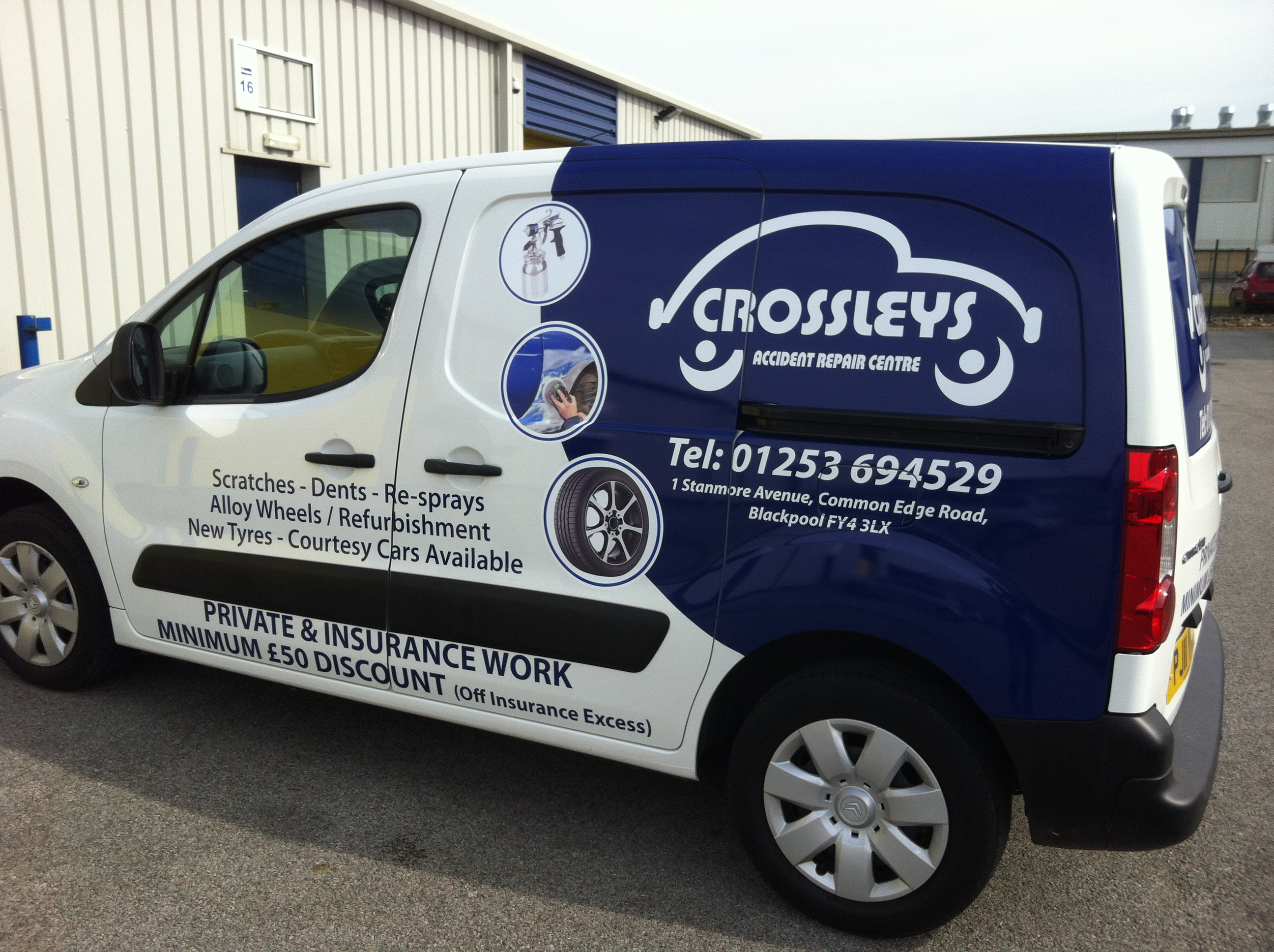 Part wrap and vinyls applied to crossleys garage van for Garage wraps